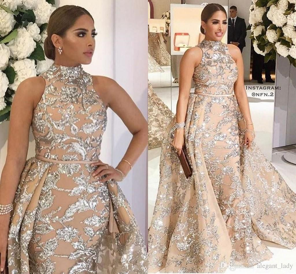 0712349297c8c Yousef Aljasmi 2018 High Neck Prom Dresses with Detachable Train ...