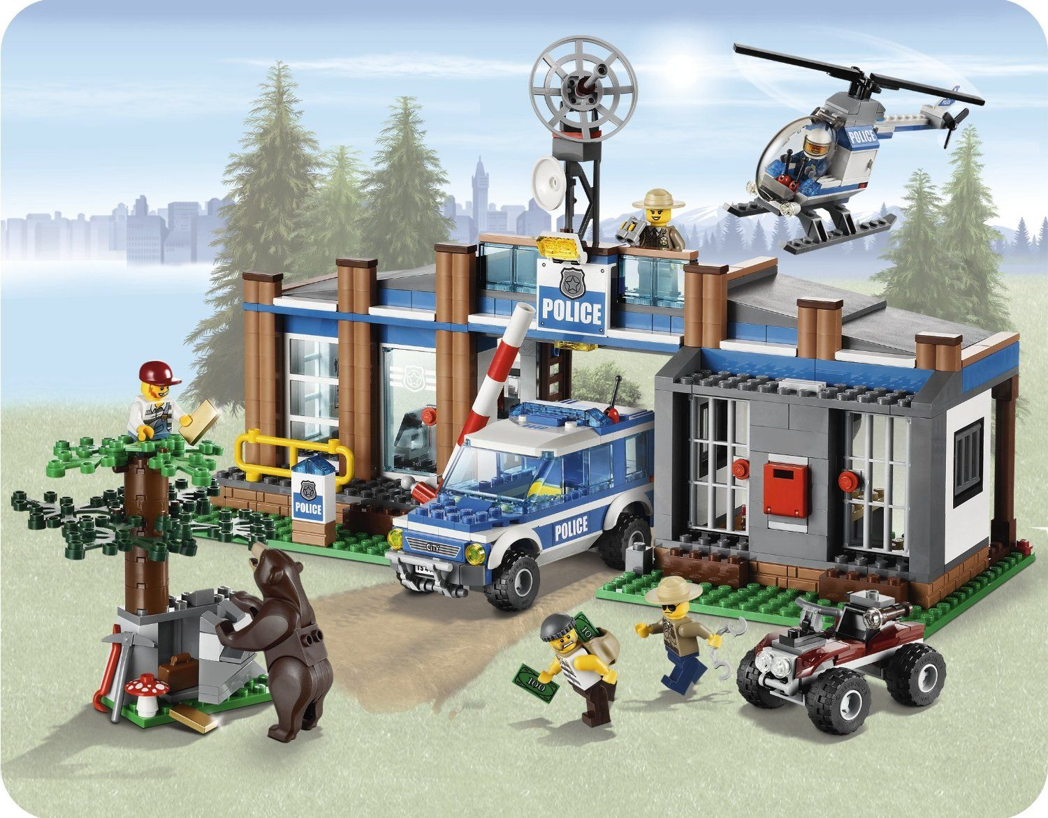 Lego City Forest Police Station W Helicopter 5 Minifigures