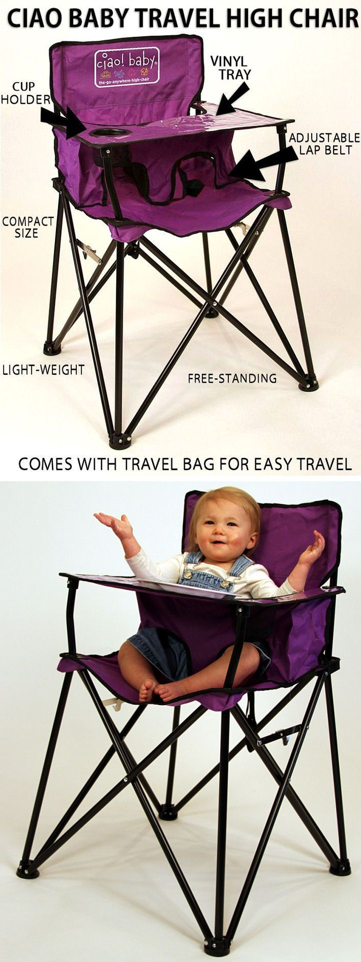Portable Baby High Chair Folds Up For Easy Travel Great