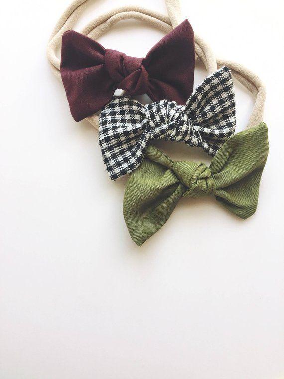 Maroon, Picnic, & Olive Baby Headband Set. Baby Headbands. Baby bows Soft baby headband Nylon headband Hair bow Baby Bow Clips #babyheadbands #babyheadbands
