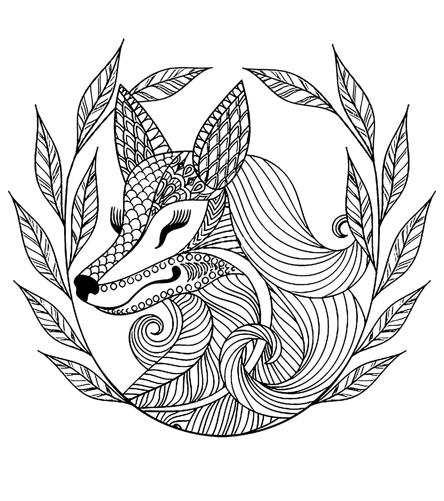 Fox And Leaves Fox Coloring Page Pokemon Coloring Pages Animal Coloring Pages