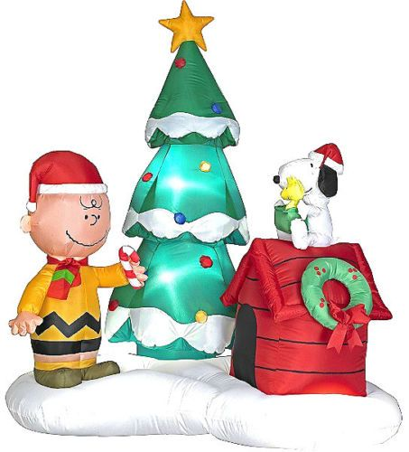 6 ft inflatable charlie brown snoopy tree christmas scene lights rare new - Snoopy Blow Up Christmas Decorations