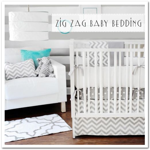Gray Chevron And Patterns Baby Bedding Boy