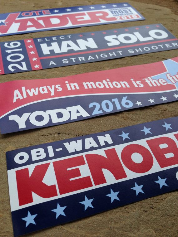Set of 4 star wars election bumper stickers 15 by kariannkelly