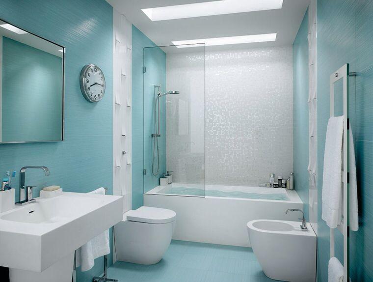 Combinacion Azul Y Blanco Azulejos Para Banos Modernos Azulejos