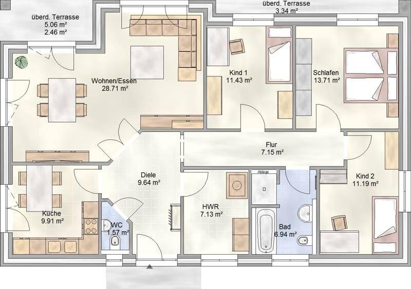 PLAN 112 Bungalow mit über 110 qm Grundriss Haus