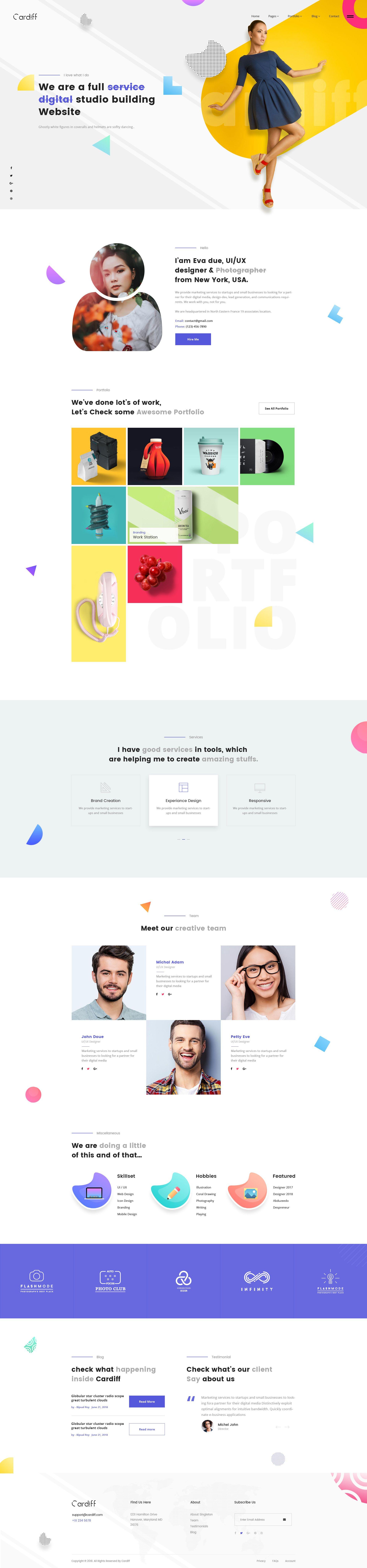 Cardiff Colorful Minimal Portfolio Web Development Design Best Web Design Website Design Inspiration