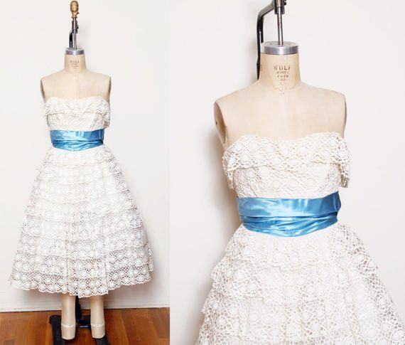 Vintage 50s lace cupcake dress / Lace prom dress / Strapless ...