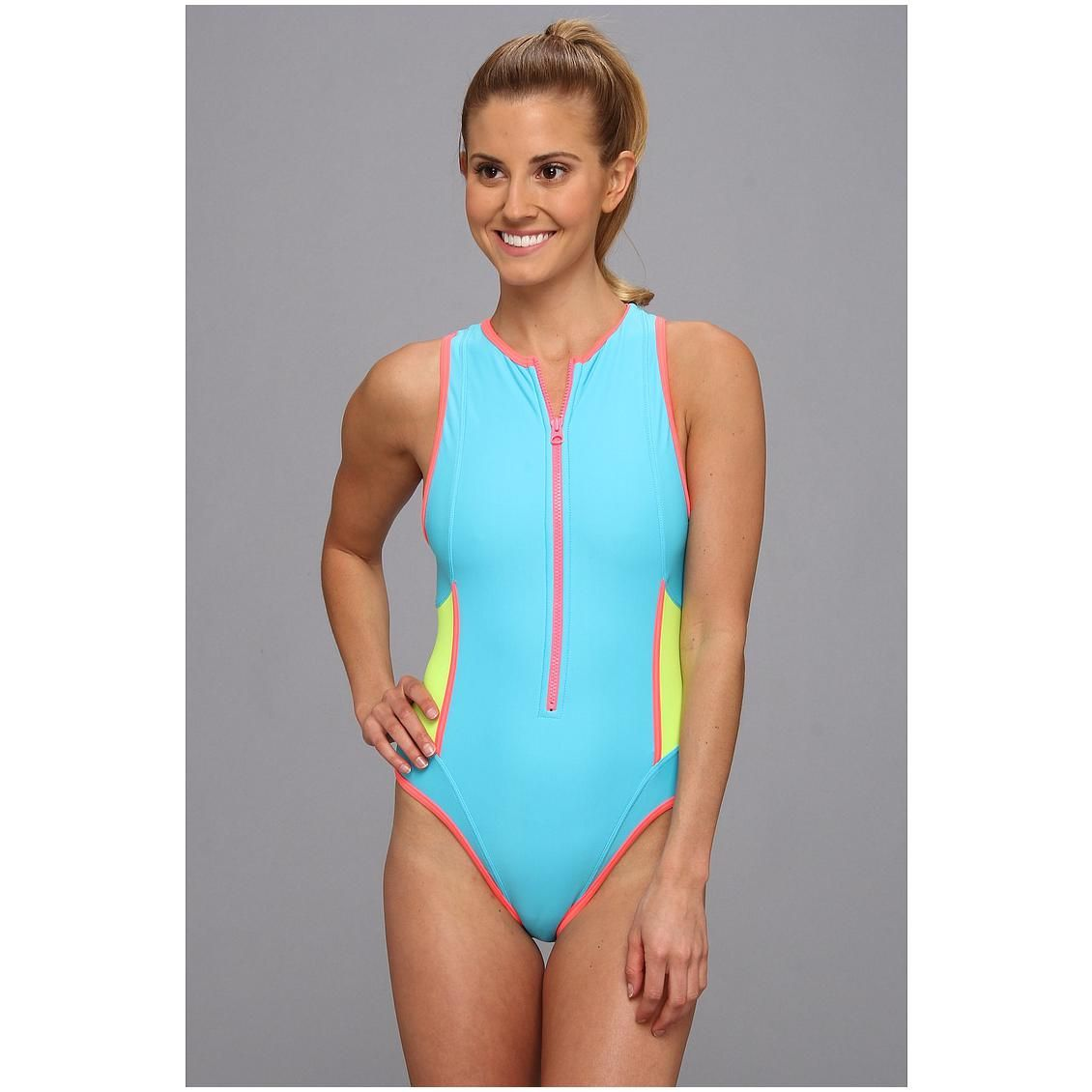 Amazing Womens One Piece Bathing Suits Part - 12: TYR Womenu0027s Huntington Beach Solid Zipper One-Piece Swimsuit