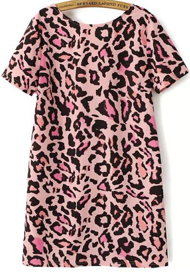 4381cdec6297 Buy Pink Short Sleeve Leopard Backless Dress from abaday.com, FREE shipping  Worldwide - Fashion Clothing, Latest Street Fashion At Abaday.com