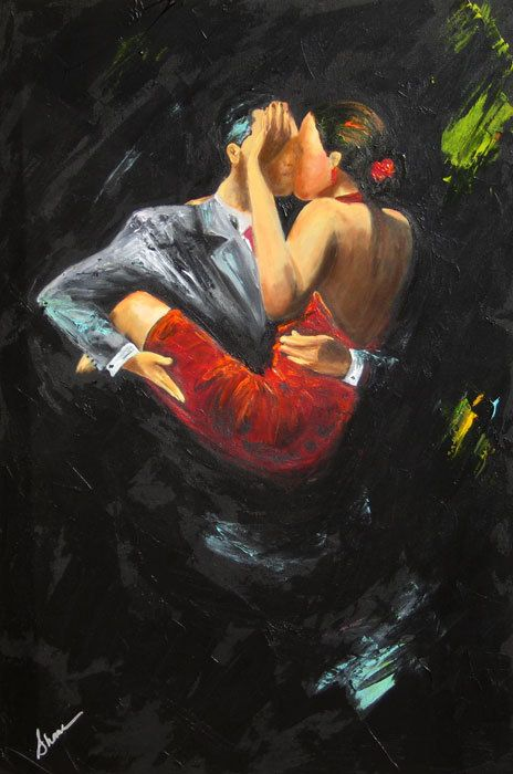 Tango dancers original painting acrylic painting on for Acrylic painting on black background