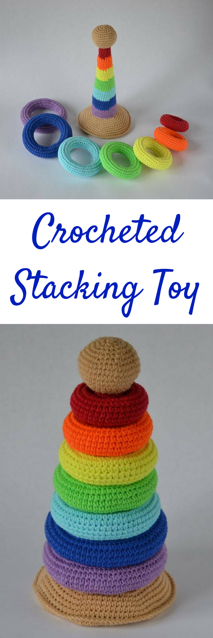 Crochet Stacking Toy for Babies   Sorting Toy   Stacking Toy #ad #baby #babyplay #babyactivities #stacker #toys #crochet #crocheted #crochettoys