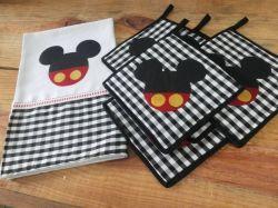 Kit descanso de panelas + pano de prato Mickey - Ateliê Pri Souza