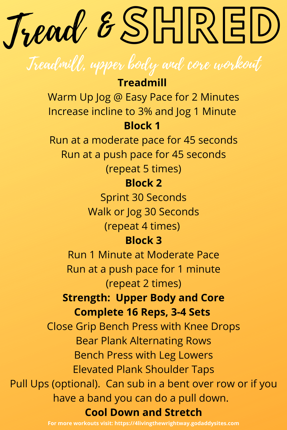 Tread and Shred Orange Theory Style Workout