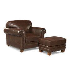 Hillsboro Leather Arm Chair and Ottoman