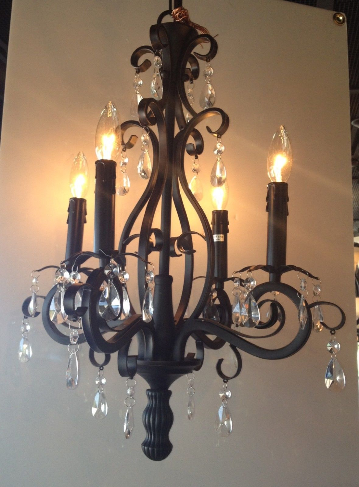 New 4 Light Oil Rubbed Bronze Mini Chandelier Orb With Crystals