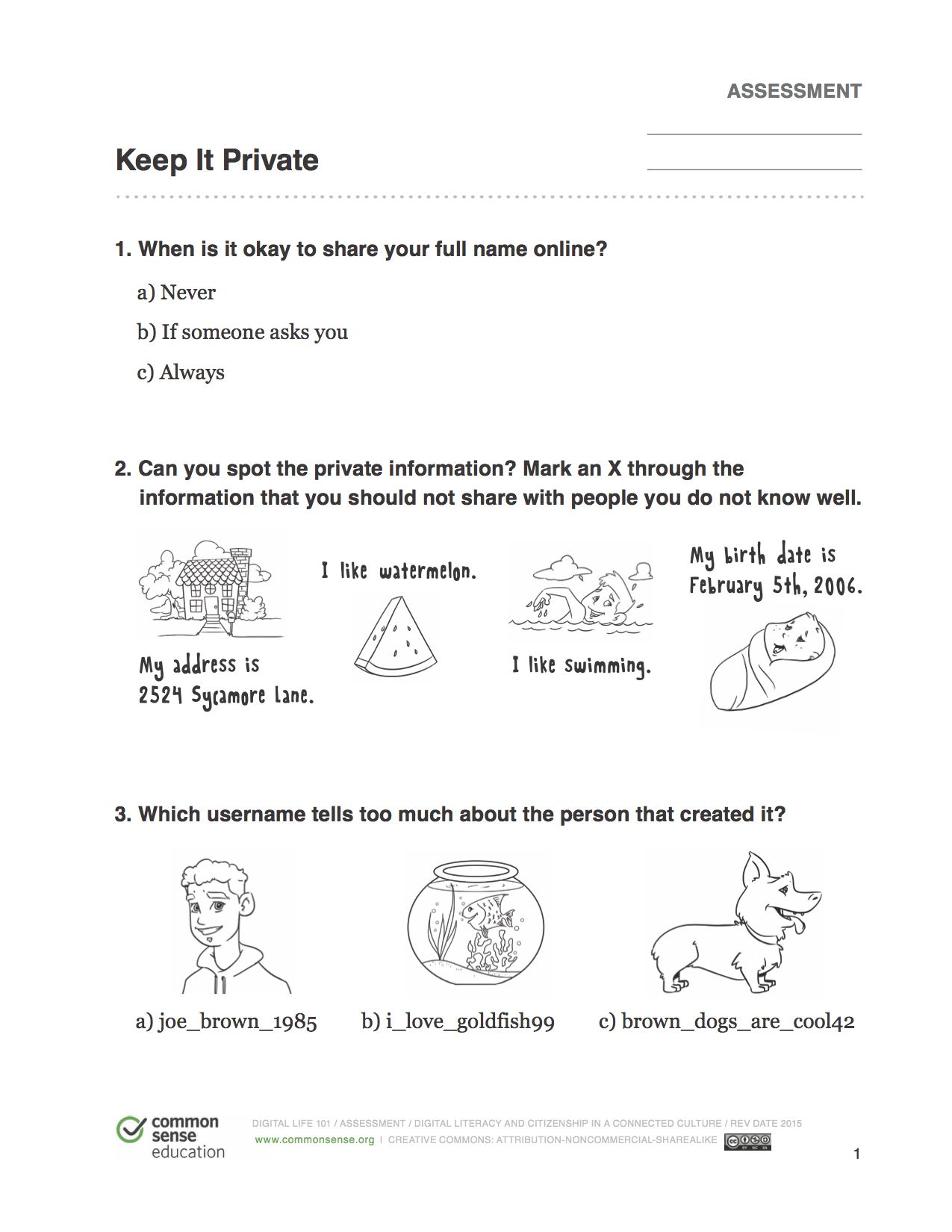 Internet Safety Worksheet For Kids