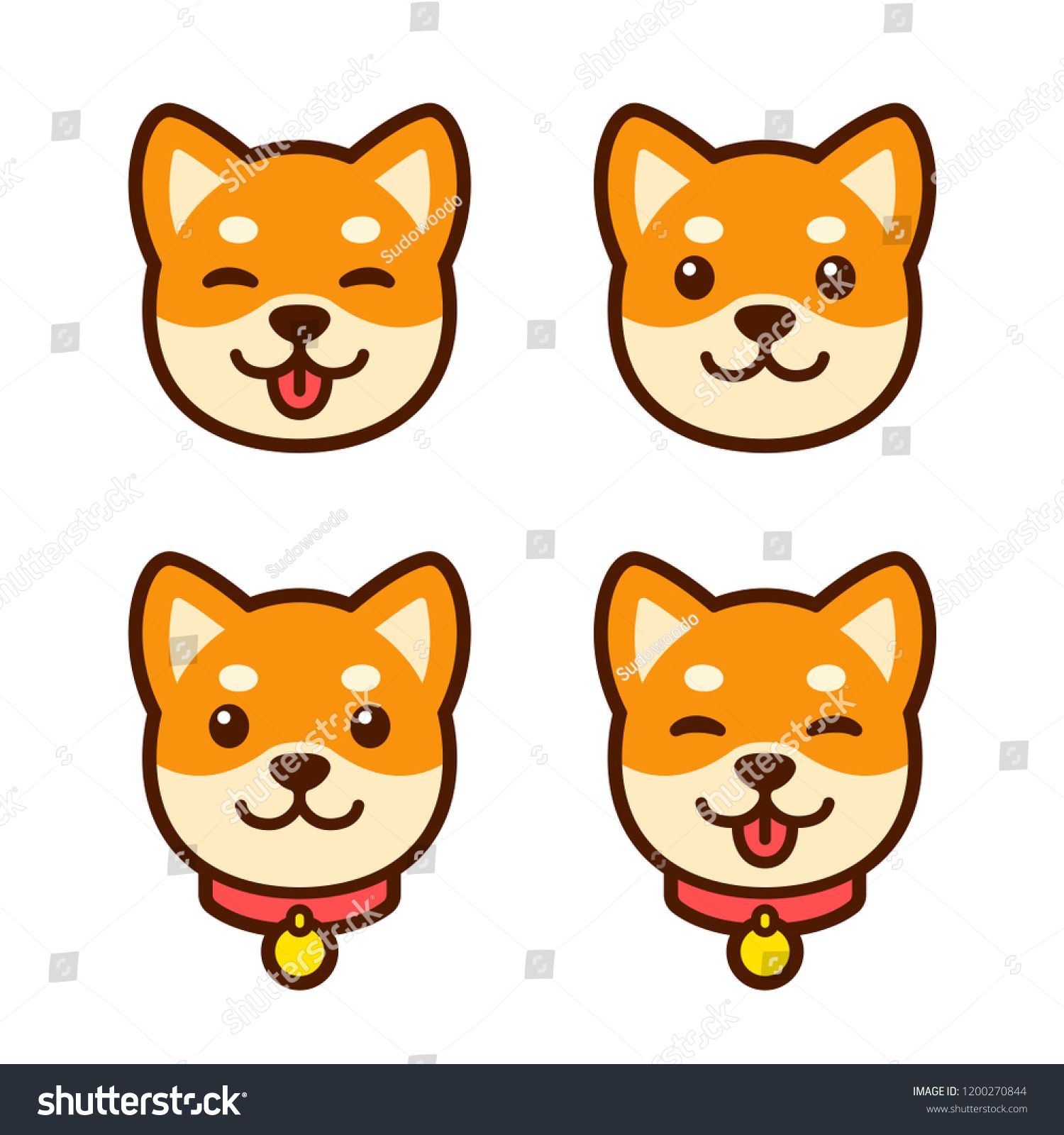 Cute Cartoon Shiba Inu Puppy Face Set For Icon Or Logo Happy Dog With Tongue Sticking Out Simple Vector Illustration Shiba Inu Puppy Shiba Inu Puppy Drawing