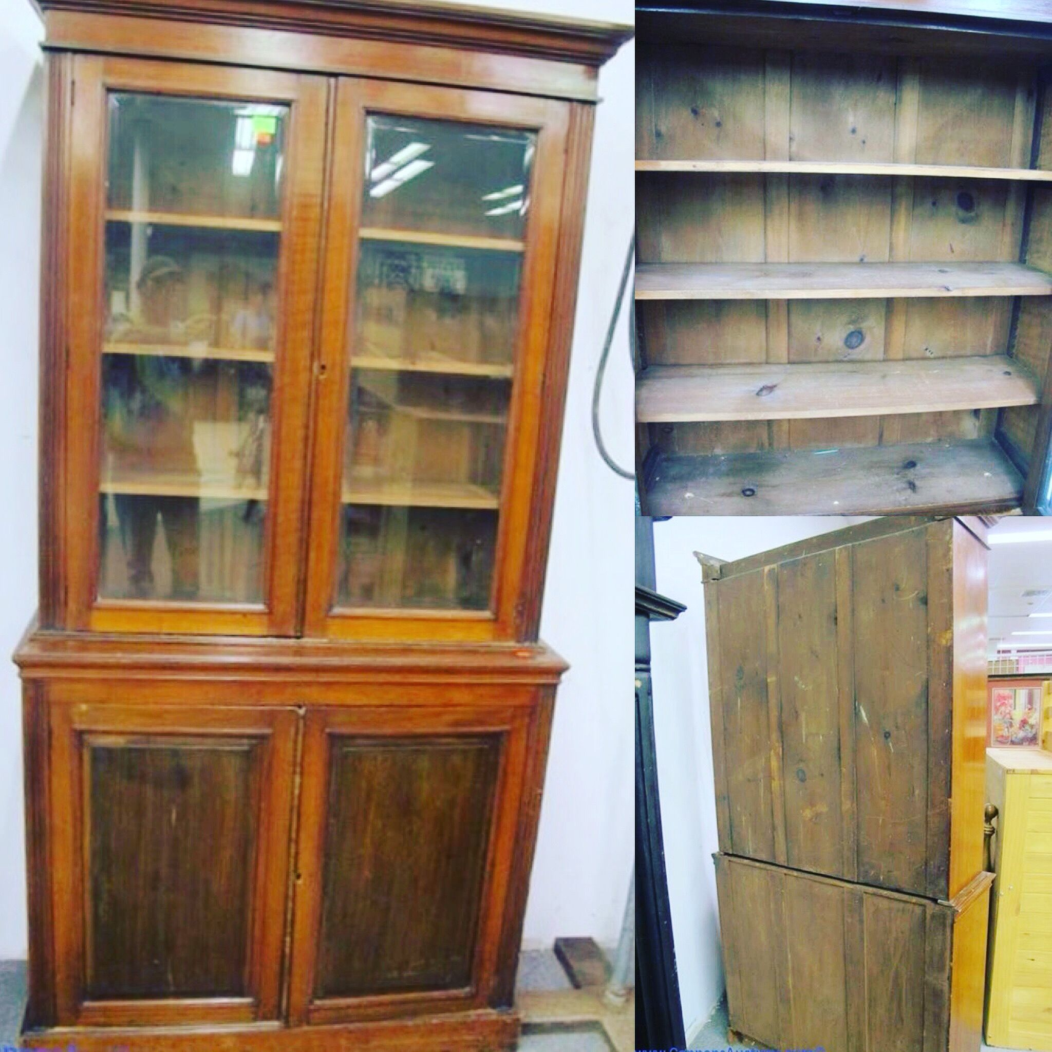 Antique Walnut Bookcase With 2 Beveled Glass Doors Above 2