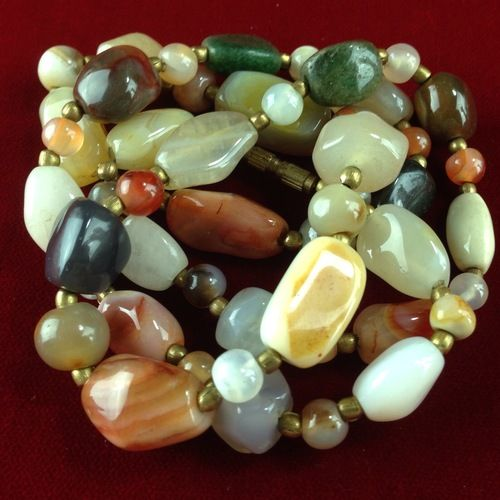 I'm auctioning 'Vintage Boho Chic Natural Polished Stone Beaded Necklace MV194|We combine shipping|No Question Refunds|Bid over $60 for free shipping' on #tophatter