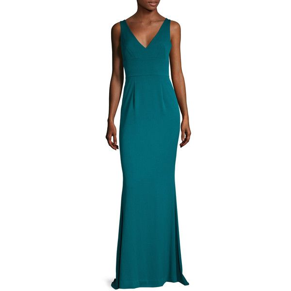 Black Halo Women\'s Enya V-Neck Gown - Green - Size 0 ($279) ❤ liked ...