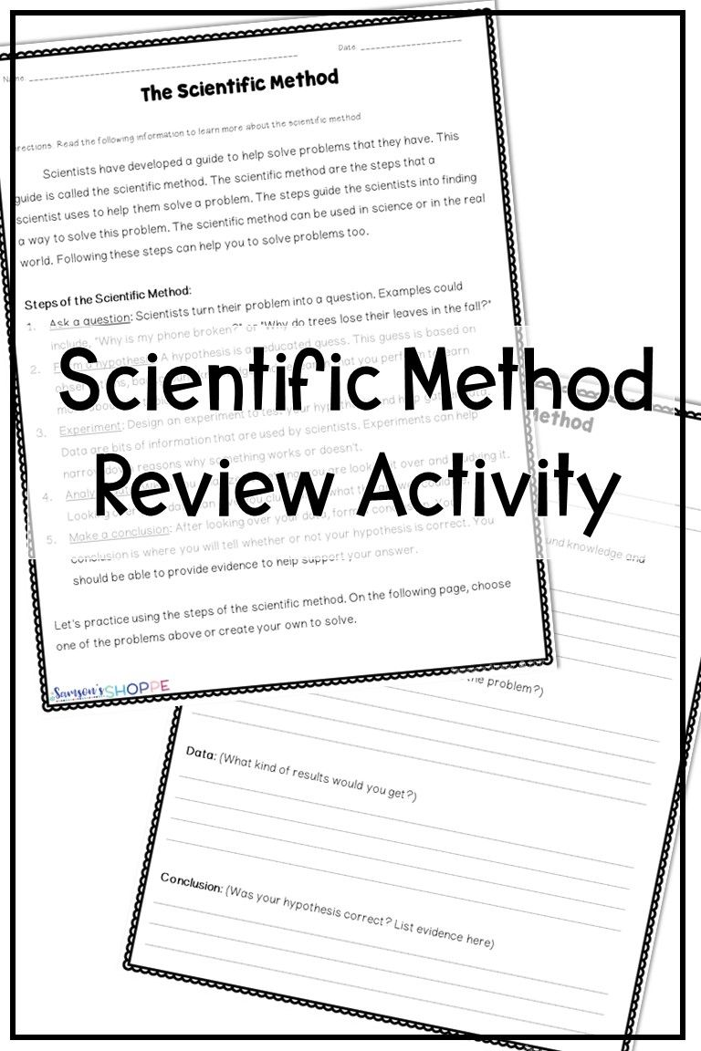 Scientific Method Free Real Life Application Activity FREE