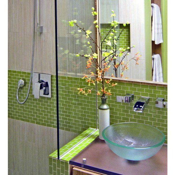 GroBartig Spiegel Glas Waschbecken Grün Fliesen Badezimmer