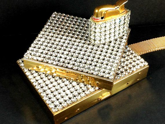 Vintage Designer Wiesner Trickettes Rhinestone Carry-All Compact Wristlet Purse with Strap 1940s, Cigarette Case and Evans Lighter Hollywood