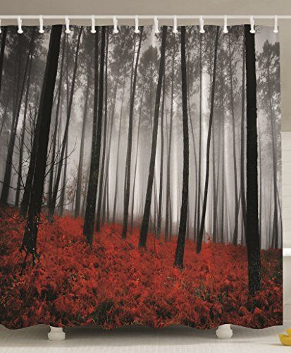 Fabric Shower Curtain Mystic Forest Red Grass Black And Gray