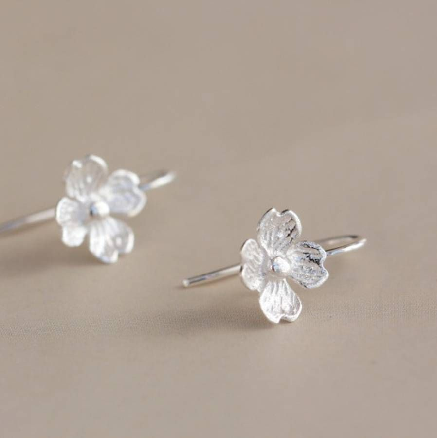 Silver Jasmine Flower Earrings