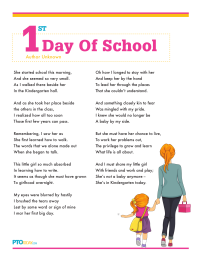 PTO Today: First Day of School Poem (girl/boy) | Teaching ...