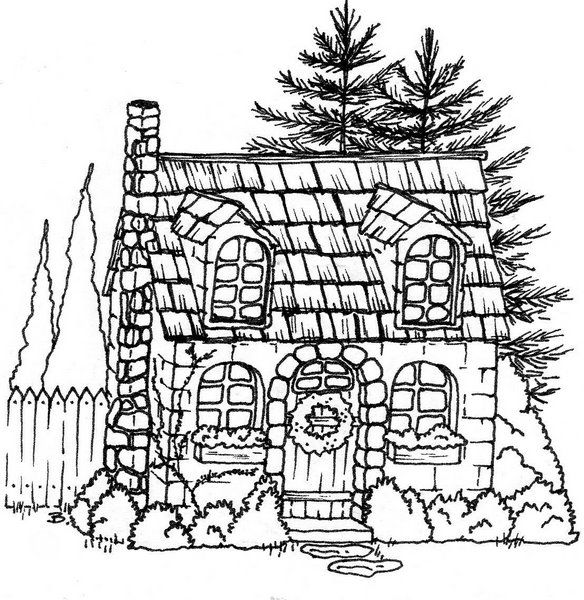 christmas village houses coloring pages - photo#21