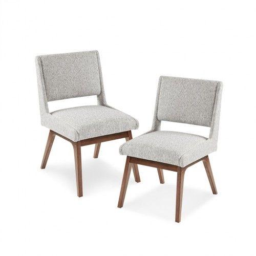 Retro Mid Century Light Grey Fabric Dining Chairs Set 2 In 2021 Dining Chairs Fabric Dining Chairs Upholstered Side Chair