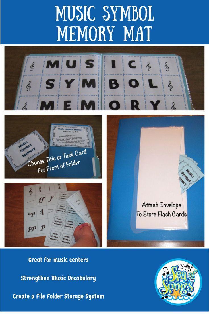 Music Symbol Memory Mat File Folder Center Vocabulary Activity