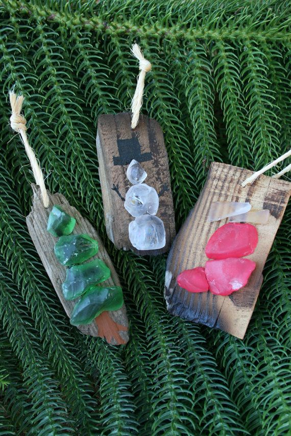 Sea Glass & Driftwood Christmas OrnamentsPine by SusterWoodworks ...
