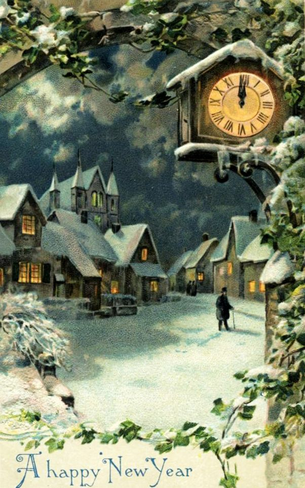 a happy new year snowy village scene with clock striking midnight