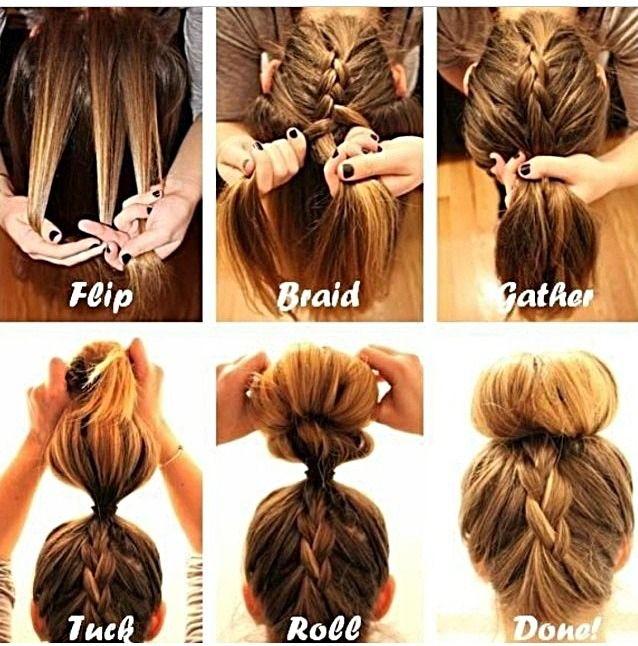 Step By Step Braided Bun | Hair style, Make up and Hair and beauty
