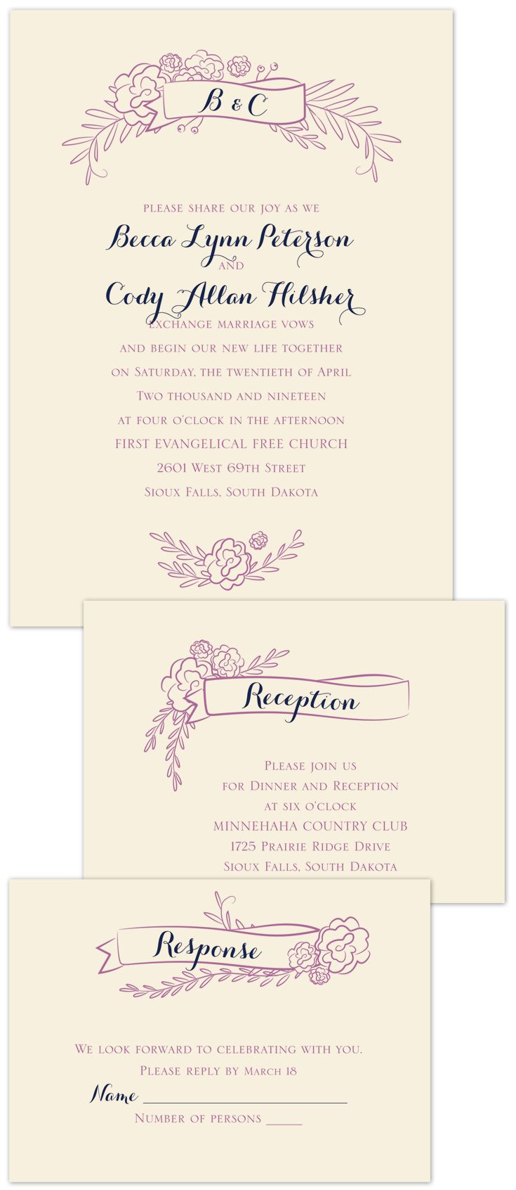Charming Banners Separate And Send Invitation Banners Floral