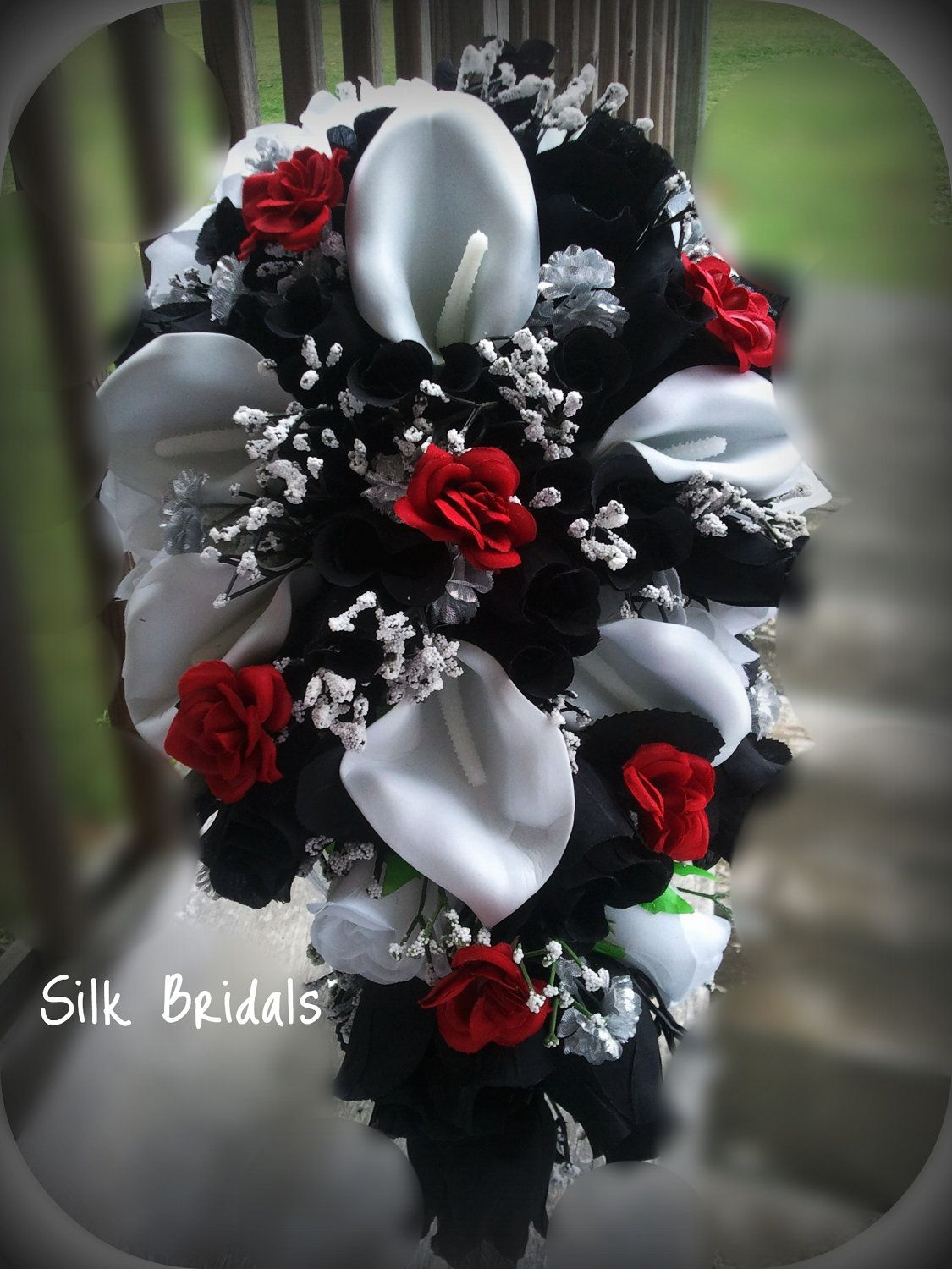 Bridal bouquet silk wedding flowers black red white silver calla bridal bouquet silk wedding flowers black red white silver calla roses 46pc set for jasey 27500 via etsy mightylinksfo