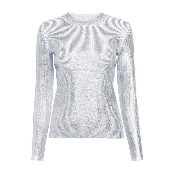 Carven - Metallic Ribbed Sweater (3 465 SEK) via Polyvore featuring tops, sweaters, rib top, carven top, silver metallic sweater, ribbed top and metallic top
