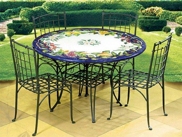 Colorful Classic Italian Ceramic Dining Table Cast Iron Chairs - Classic patio furniture