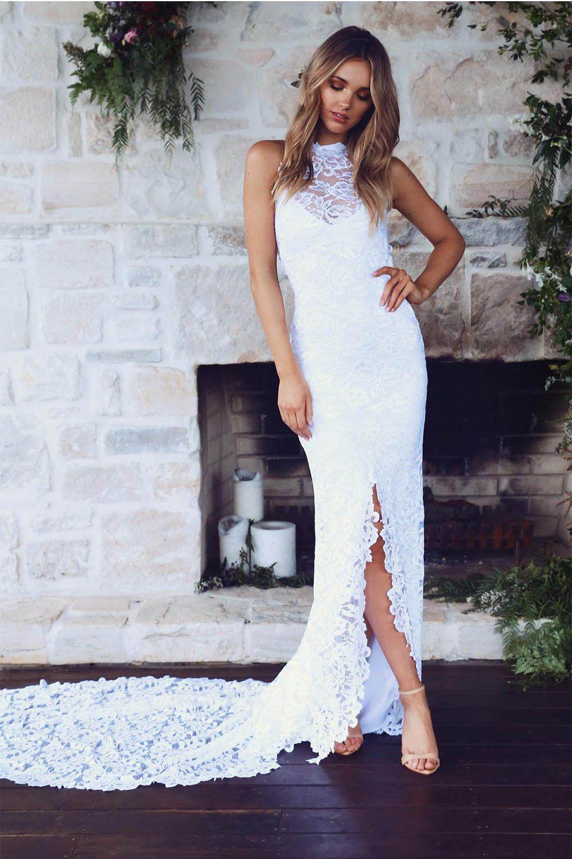 High Neck Sheathcolumn Backless Lace Wedding Dress With Long Train