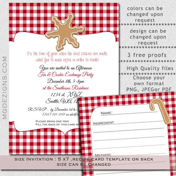 Printable Cookie exchange Party Invitation and Recipe card ...