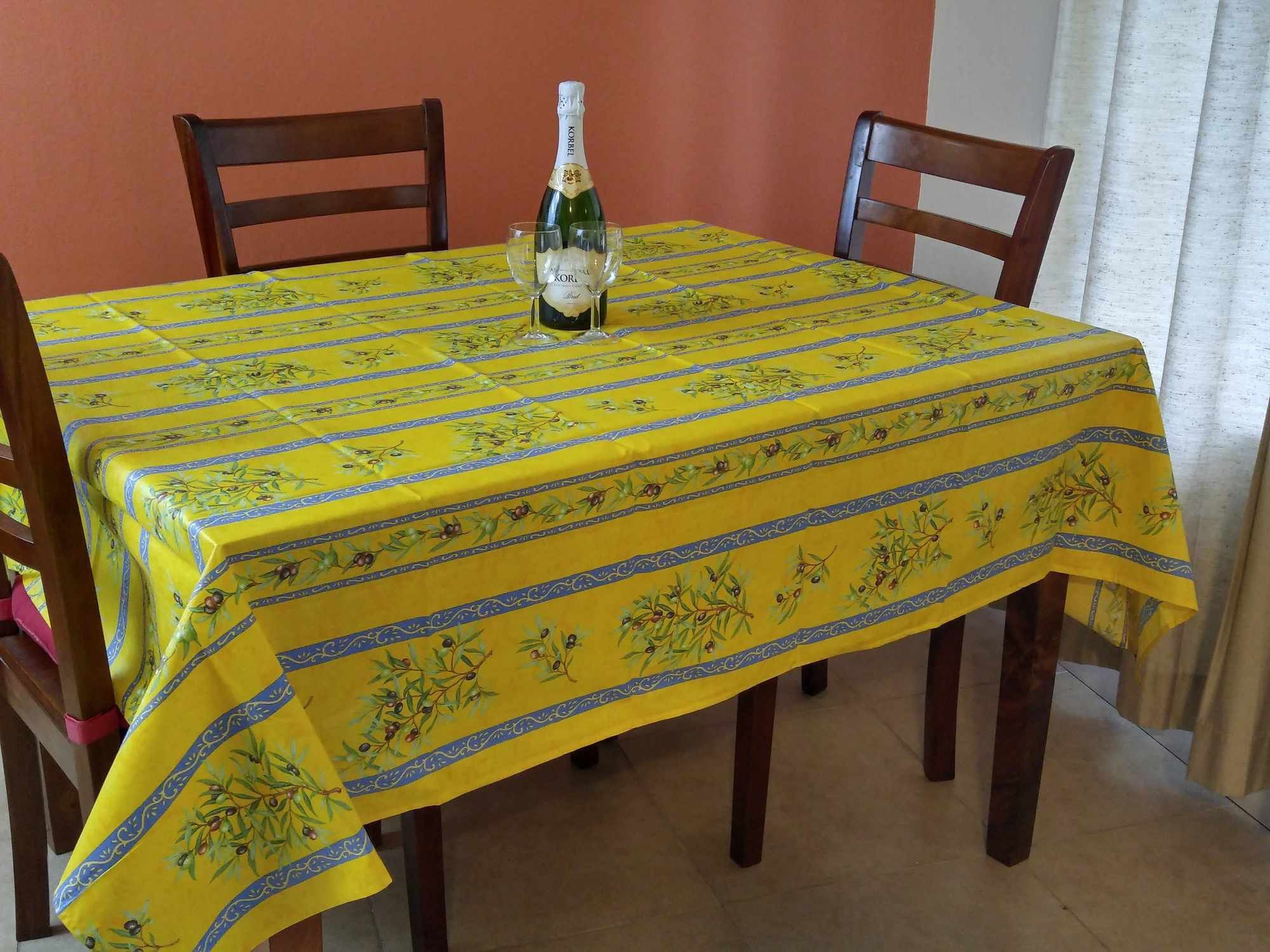 French Tablecloth Provencal Acrylic Coated Cotton Olive Yellow Blue ...