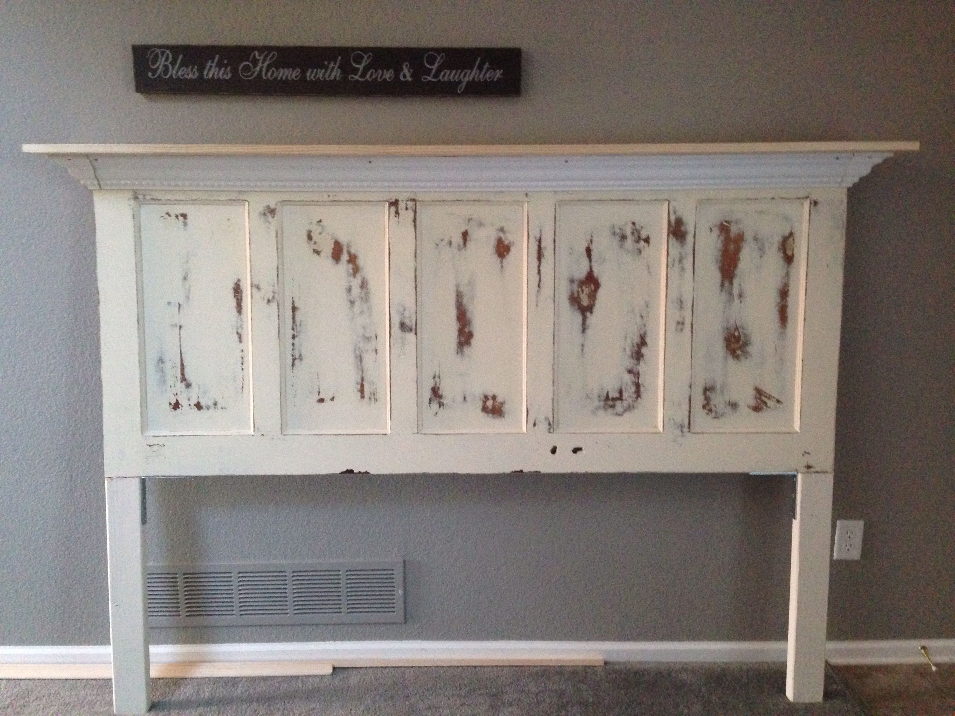 Antique door made into a headboard farmhouse chic - Headboard made from old door ...