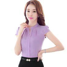 Elegante com decote em V Formal mulheres blusa verão OL moda slim manga  curta chiffon camisa das senhoras de escritório plus size tops… f40b8fabc6a06