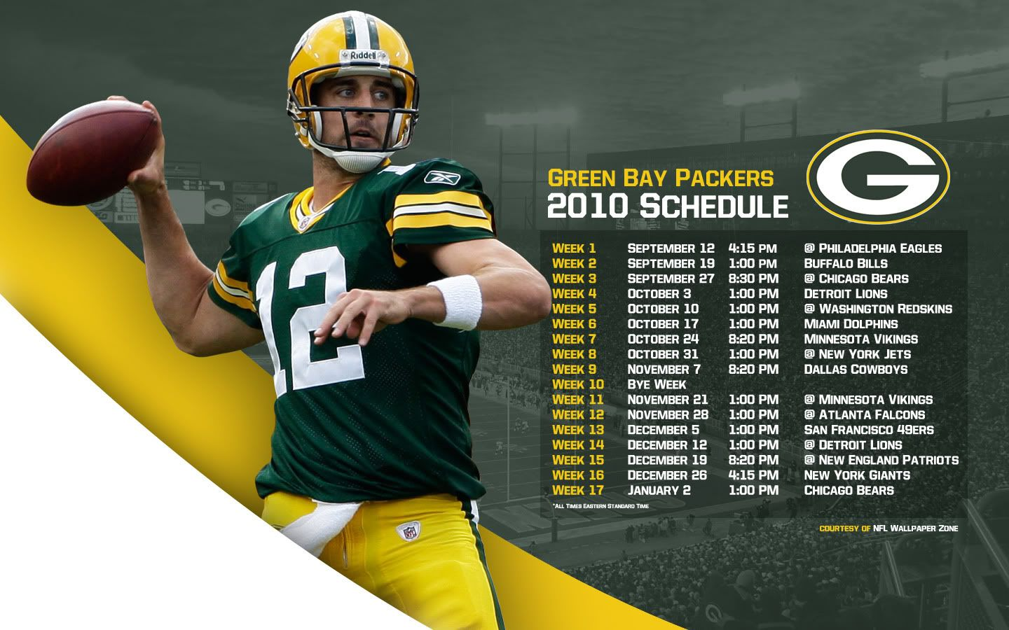 Green Bay Packer Nfl Wallpaper Zone Green Bay Packers 2010 Schedule Wallpaper Aaron Green Bay Packers Packers Green Bay