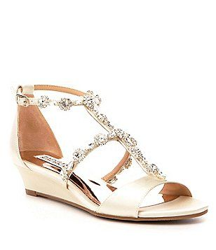 76ece3b3624a Badgley Mischka Terry Jeweled Satin Wedge Dress Sandals