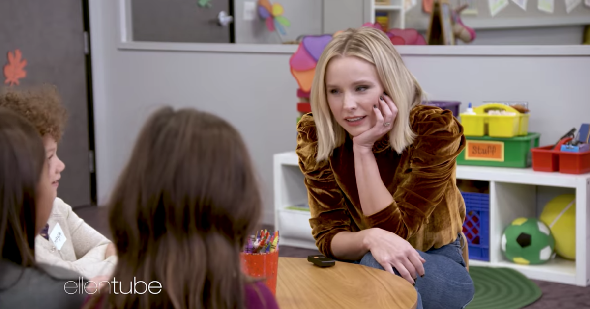 """Do your mommies ever drink wine?"" Learn the hilarious answer from kids and MORE as Kristen Bell becomes the official ""Momsplainer."" #RealLifeGood"