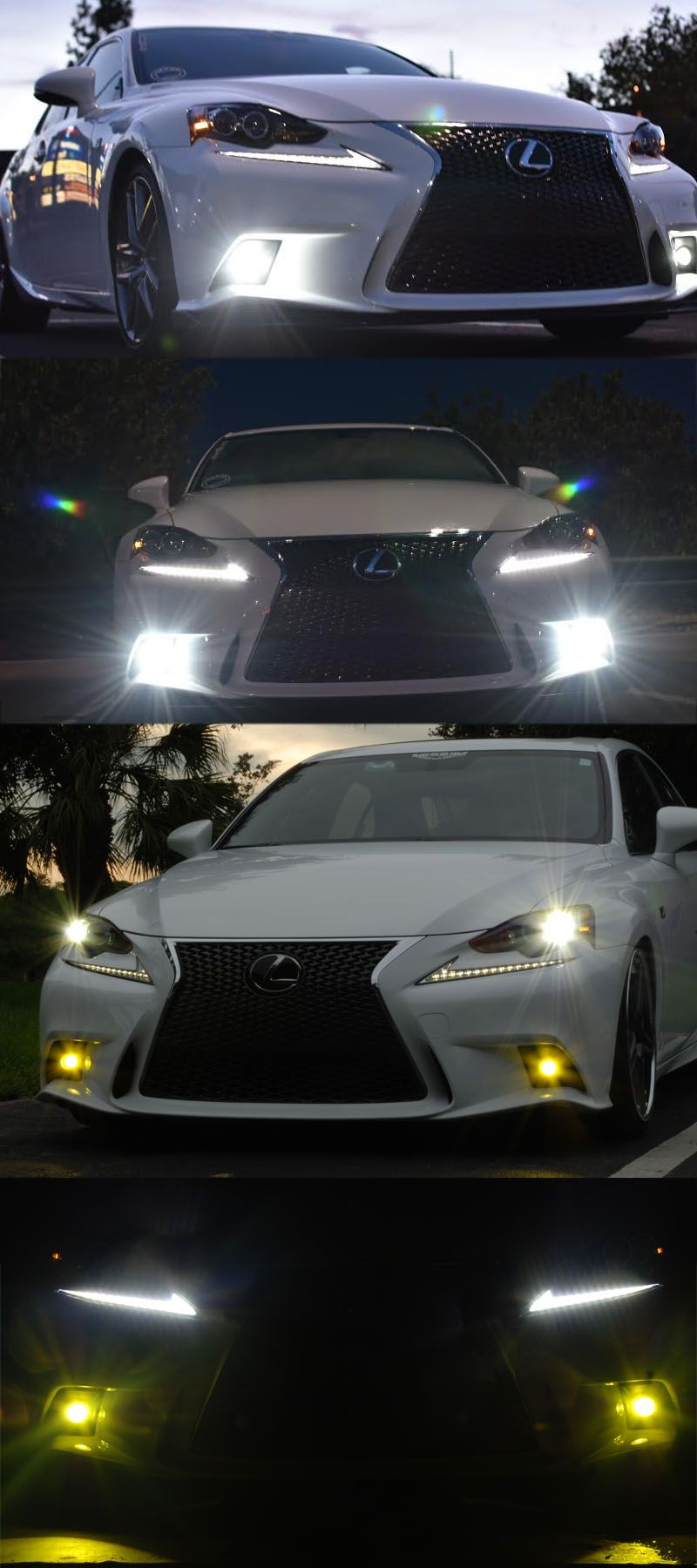 Xenon White or Amber Yellow Projector Lens LED Fog Lights
